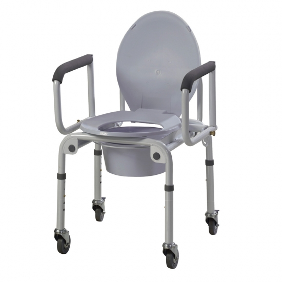 Buy Steel Drop Arm Commode With Wheels And Padded Arms,Steel Drop ...