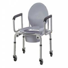 Steel Drop-arm Commode with Wheels